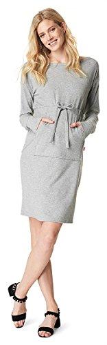 Noppies Umstandsmode Damen Kleid Radygo-Stoff (TNO zertifiziert) 70904 Grey Melange L / Set Gratis Baby-Tuch (Schöne Lycra-kollektion)