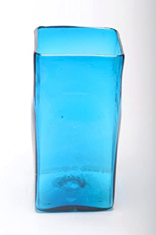 Large Square Vase, recycled, handblown glass (30cm) - Turquoise