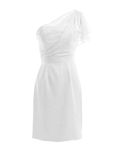 Dresstells, une épaule robe courte de demoiselle d'honneur en mousseline, robe de cocktail épaule asymétrique Ivoire