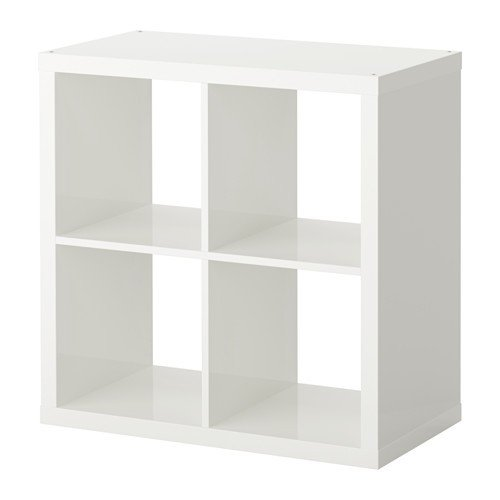 Ikea KALLAX Regal in Hochglanz weiß; (77x77cm); Kompatibel mit EXPEDIT