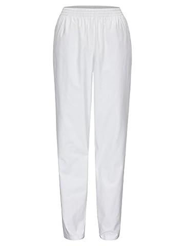 DESERMO® Schwesternhose Schlupfhose mit Gummibund aus reiner Baumwolle | Pflegerhose | bequeme Medi Hose - Gr. 40, Weiß