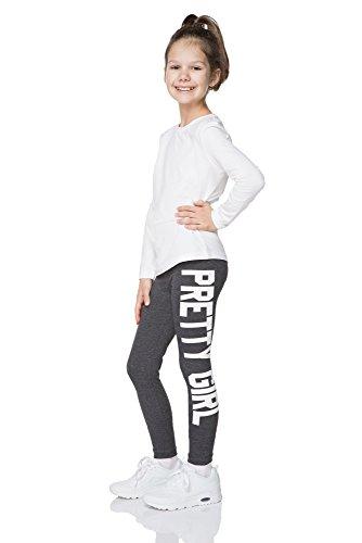 """hi!mom - Mädchen Leggings mit Schriftzug \""""Pretty Girl\"""" - lang & stylischer Print - 1-13 Jahre- DZPRT - Graphit - 8-9 Jahre"""