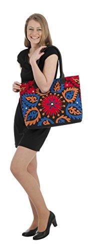 Sunsa Damen Schultertasche Handtasche Canvas Tasche braun 45x36x11 cm schwarz