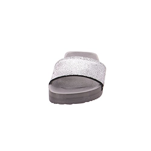 flip*flop Damen Pool Metallic Cracked Offene Sandalen Schwarz (Steel)