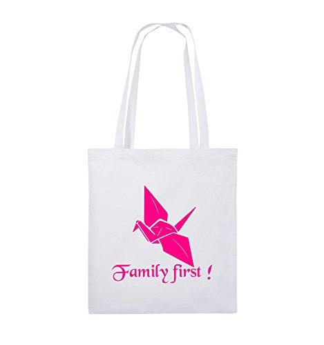 Comedy Bags - Family First Origani - PRISONBREAK - Jutebeutel - lange Henkel - 38x42cm - Farbe: Schwarz / Silber Weiss / Pink