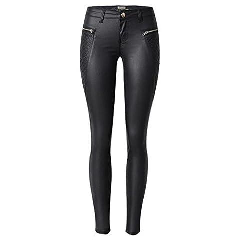 Wgwioo Womens Disco Coating Low Waisted Skinny Pu Leder Stretchy Slim Bleistift Hose Zipper Tasche Leggings Hosen . Black .
