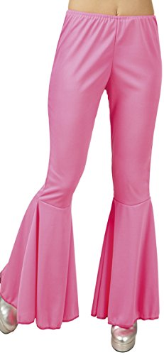 erdbeerloft - Damen Lange Schlaghose im 60er Stil, Neonpink, Größe One Size