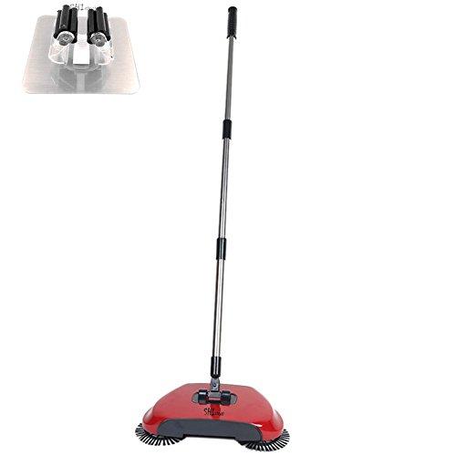 3 in 1 Haushalt Lazy Automatik Hand Push Kehrmaschine Besen 360 Grad Rotierende Reinigungsmaschine Kehrmaschine ohne Strom Dustpan Mülleimer (Rot)