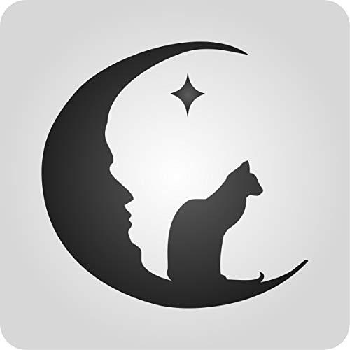 (Cat Moon Schablone–wiederverwendbar Cat Lovers Halloween Day Of The Dead Kids Wand Schablone–Vorlage, auf Papier Projekte Scrapbook Tagebuch Wände Böden Stoff Möbel Glas Holz usw. m)