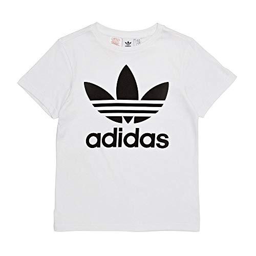 Adidas trefoil - maglietta bambini, bianco/nero, 11-12 anni (152 eu)