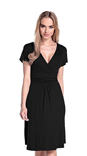 Glamour Empire Damen Skater Kleid, Einfarbig schwarz Schwarz Medium -