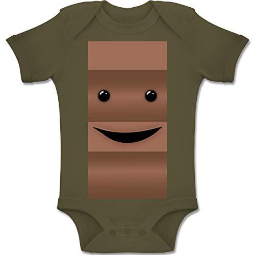 Shirtracer Karneval und Fasching Baby - Partner-Kostüm Milch und Schokolade Er - 1-3 Monate - Olivgrün - BZ10 - Baby Body Kurzarm Jungen - Milch Kostüm Baby