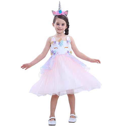 Das beste Einhorn Prinzessin Kostüm für Kinder Einhorn Blume Rüschen Kostüm für Mädchen Kleid Geburtstag Festlich Cosplay Party Halloween Fotoshooting Hochzeit Prinzessin Sommer Kleider Tutu Rock
