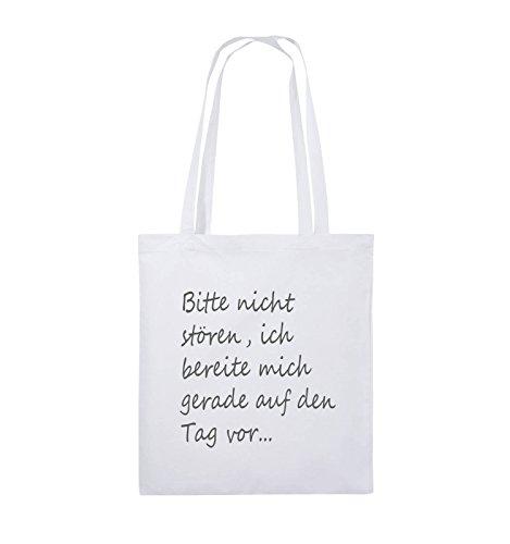 Comedy Bags - Bitte nicht stören, ich bereite mich gerade auf den Tag vor. - Jutebeutel - lange Henkel - 38x42cm - Farbe: Schwarz / Silber Weiss / Grau