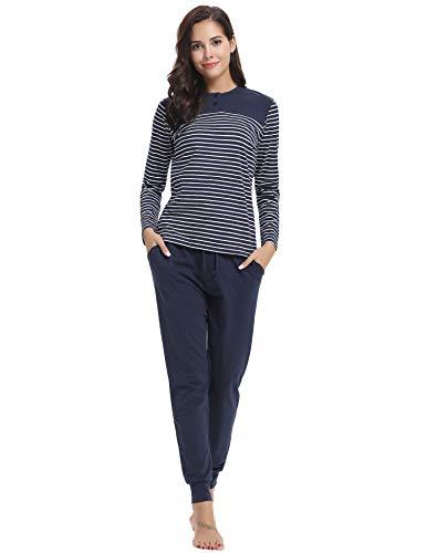 Aibrou Damen Schlafanzug Pyjama Lang Gestreift Hausanzug Baumwolle Nachtwäsche mit Lange Oberteil Hose für Herbst Winter Blau L