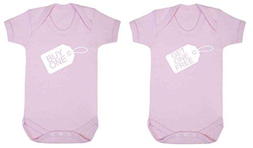 Universal Wear - Bodi para niños, para gemelos, 2 unidades blanco rosa pastel Talla:3-6 meses