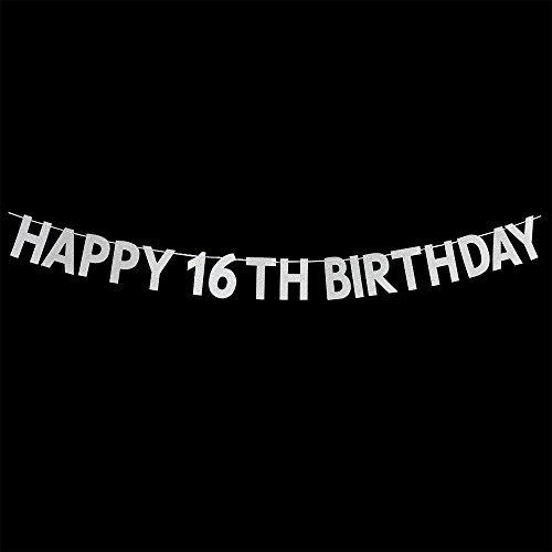 WeBenison Happy 16th Birthday Banner-Sweet 16Geburtstag Party Dekorationen Supplies-Silber (16 Happy Birthday Sweet Banner)