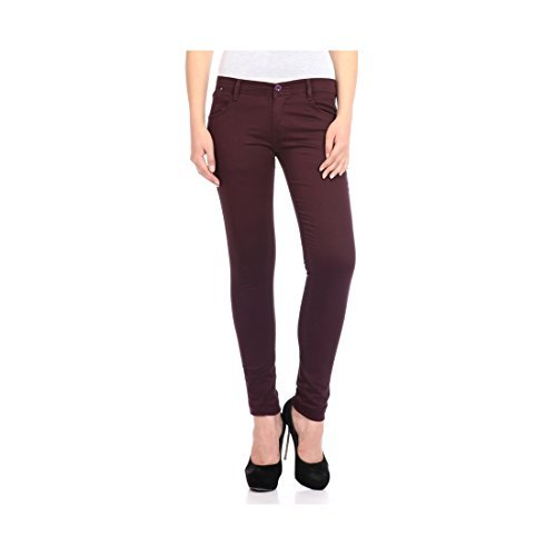 FlyJohn Women's Dark-Purple Cotton Lycra Chinos  available at amazon for Rs.597