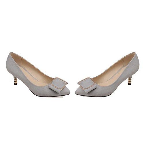 AllhqFashion Damen Rein Mattglasbirne Ziehen Auf Spitz Zehe Pumps Schuhe Grau