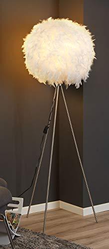 Dreibein Stehlampe Stehleuchte Standleuchte | ca. 150 cm hoch | Weiß | Papier | Entenfedern -