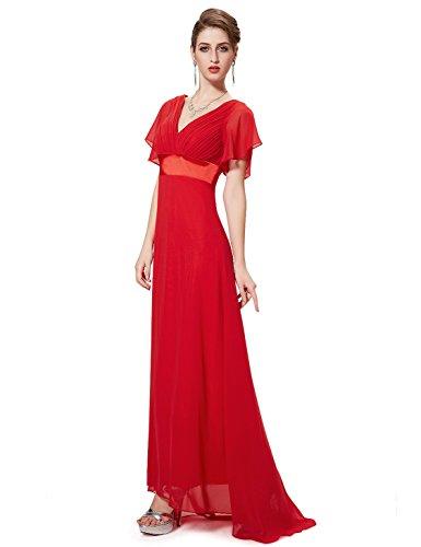Ever Pretty Damen V-Ausschnitt Lange Abendkleider Festkleider Größe 46 Rot