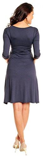 Zeta Ville Damen Umstandsmoden-Shirtkleid Umstandskleid Sommerkleid 282c Blau Grau