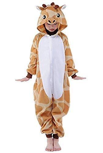 ABYED® Einhorn Kostüm Jumpsuit Onesie Tier Fasching Karneval Halloween kostüm Damen mädchen Herren Kinder Unisex Cosplay Schlafanzug, Giraffe, Größe 95 - für Höhe: 105-115 cm (4-5 - Giraffe Hörner Kostüm