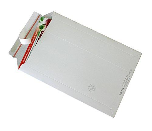 100 Versandtaschen weiß Vollpappe Karton DIN A4 - flach: 315x240mm / aufgestellt 280x190x50mm (Artikel:PS.103)