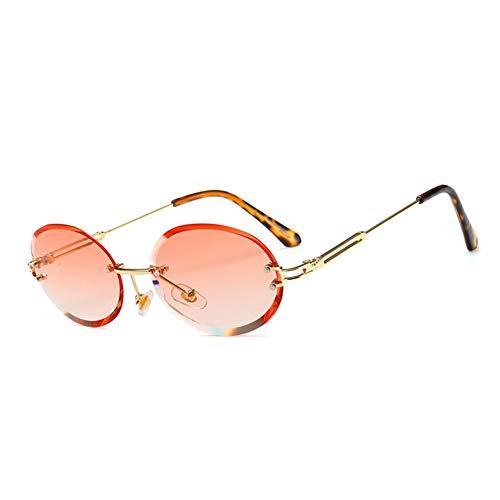 Kjwsbb Retro ovale Sonnenbrille Frauen rahmenlose graue braune klare Linse randlose Sonnenbrille für Frauen