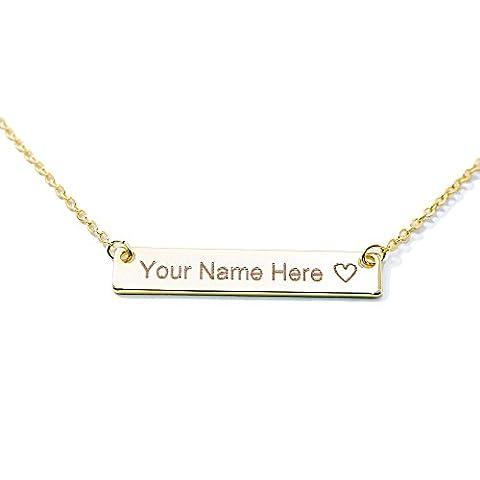 Une Barre votre nom personnalisable–Collier Femme–16K plaqué or–Bar Gravure personnalisée plaque Initiale fait à la main