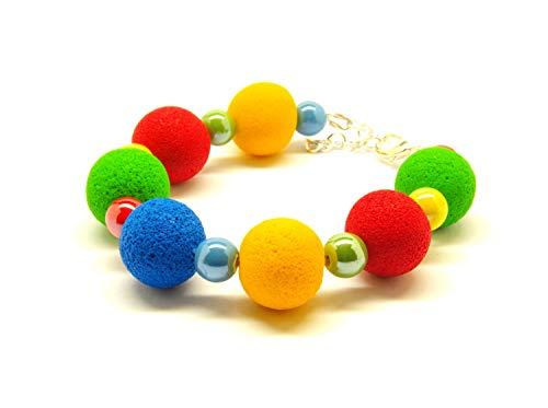 Armband Perlen Fimo Polymer Clay Lava Porzellan blau gelb rot grün bunt Regenbogen silbern Armreifen Juvelato