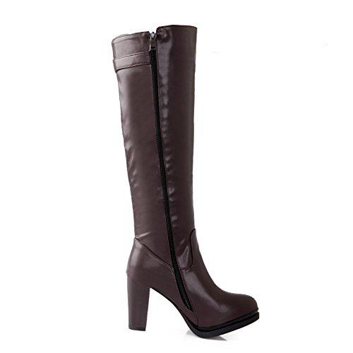 VogueZone009 Donna Punta Tonda Tacco Alto Alta Altezza Puro Stivali con Fibbia Marrone