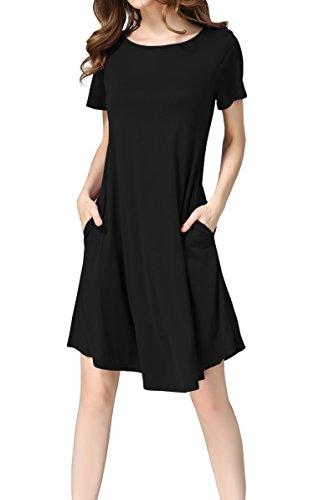 Hibluco Damen Freizeit Lose Tunika T-Shirt Kleid Mit Tasche (Small, Violett)