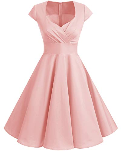 Bbonlinedress Robe Femme de Cocktail Vintage Rockabilly Robe plissée au Genou sans Manches col carré Rétro Blush XL