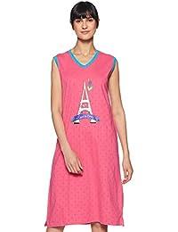 Nuteez Women's Long Top Regular Fit Cotton Night Dress