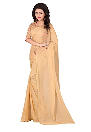 PARISHA Nazmin Solid Women's Saree with Net Embroidered Blouse NET1003_Beige  available at amazon for Rs.399