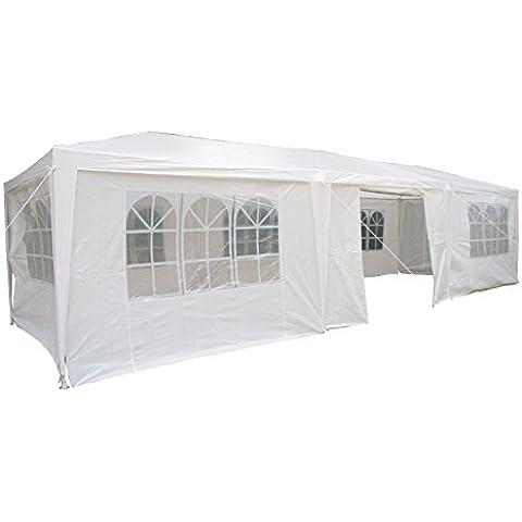 Cenador de 3 x 9 metros Airwave con 3 x Barras de Viento Únicas y Paneles Laterales, Toldo Impermeable de 120g, Blanco