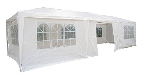 Airwave 3 x 9m Party Tent Gazebo Marquee with 3 x Unique WindBars and Side Panels 120g Waterproof Canopy, White, 120g