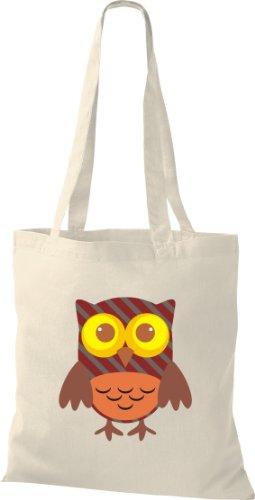 Stoffbeutel Bunte Eule niedliche Tragetasche mit Punkte Karos streifen Owl Retro diverse Farbe natur