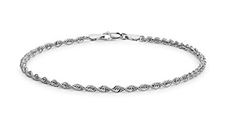 Tuscany Silver Sterling Silver Diamond Cut Rope Bracelet of 18cm/7