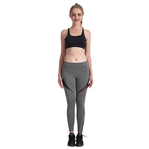 Jiayiqi Femmes Serrées Capris Séance d'Entraînement Legging Haute Taille Pantalons De Yoga Gris