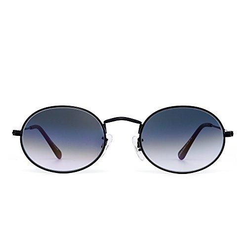 Retro Klein Rund Gradient Sonnenbrille Klassisch Metall Glas Linse Schatten Damen Herren(Schwarz/Gradient Grau)