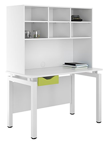 UCLIC Kit Out My Office Bench Desk Cupboard with Single Drawer and Open Upper Storage, Metal, Green, 1200 mm