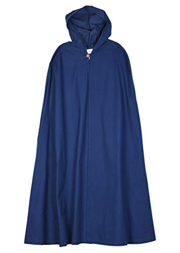 Mittelalter Umhang mit Kapuze Damen Herren Kostüm Kleidung LARP Wikinger (Blau)