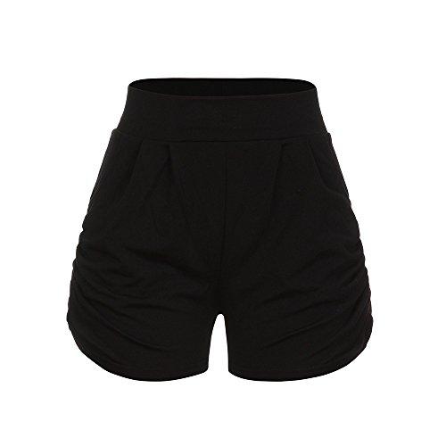 Zarupeng Damen Einfarbig Shorts Hohe Taille Faltete Freizeitshorts Sommer Weiche Atmungsaktiv Stoff-Shorts Lose Strand Kurzen Hosen -