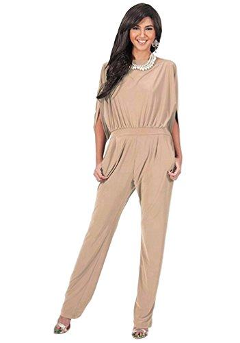 Dooxi Damen Elegant Einfarbig Hohe Taille Jumpsuit Schlank Lange Overall Hose