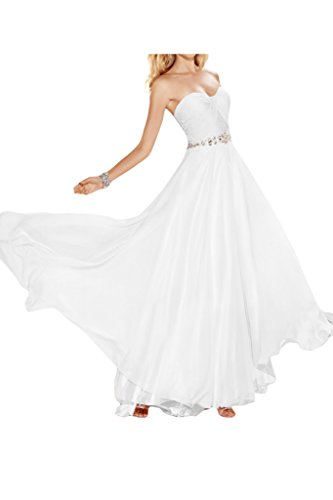 Ivydressing Damen Elegant Herz-Ausschnitt A-Linie Promkleid Chiffon Lang Abendkleid Festkleid Ballkleider Weiß