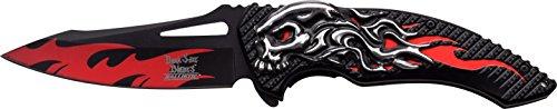 DARK SIDE BLADES Taschenmesser DS-A034 Serie, Messer TOTENKOPF ALU ROT Griff, Outdoormesser 12,7 cm ROSTFREI Klinge, leicht 181gr Klappmesser