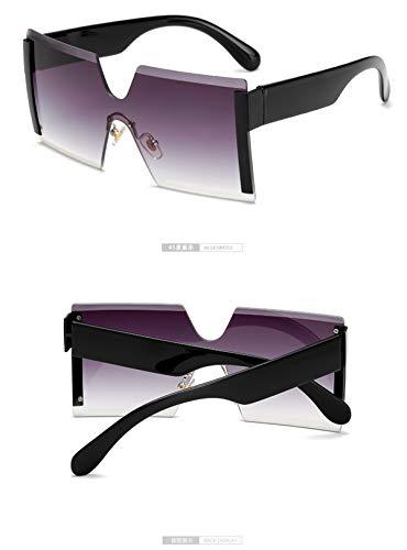 Sonnenbrillen NEW Oversized Square Rimless Sunglasses Women Brand Designer Flat Top Big Sun Glasses Female One Piece Travel Gafa De Sol 6931 C1 gradual grey