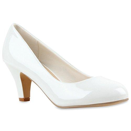 Kitten High Heel (Klassische Damen Pumps Kitten Heels Leder-Optik Absatz Business Schuhe 144265 Weiss Lack Berkley 36 Flandell)